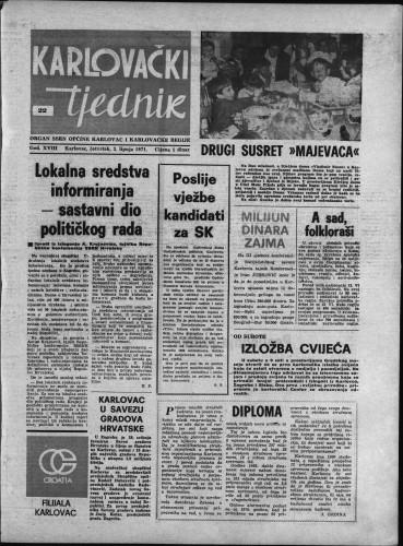 Karlovački tjednik: 1971 • 22