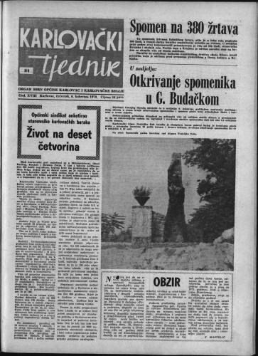 Karlovački tjednik: 1970 • 31
