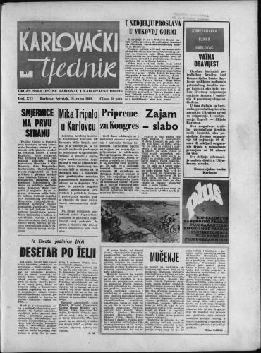 Karlovački tjednik: 1968 • 37