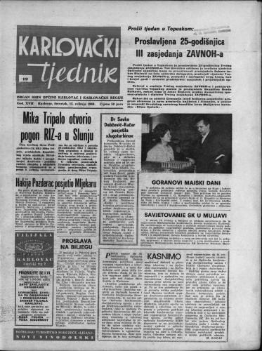 Karlovački tjednik: 1969 • 19