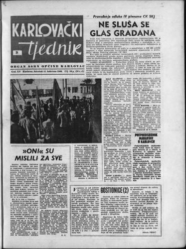 Karlovački tjednik: 1966 • 31