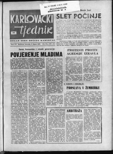 Karlovački tjednik: 1967 • 22