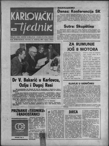 Karlovački tjednik: 1971 • 45