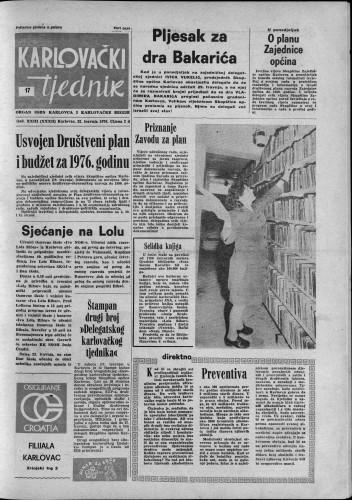 Karlovački tjednik: 1976 • 17