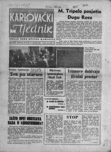 Karlovački tjednik: 1968 • 1