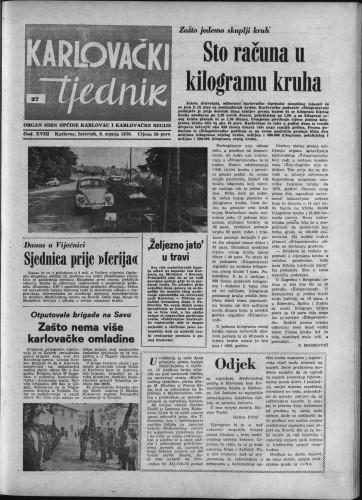 Karlovački tjednik: 1970 • 27