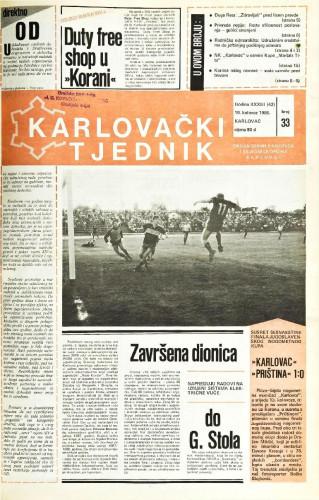 Karlovački tjednik: 1986 • 33