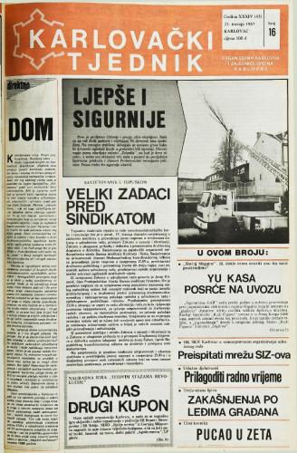 Karlovački tjednik: 1987 • 16