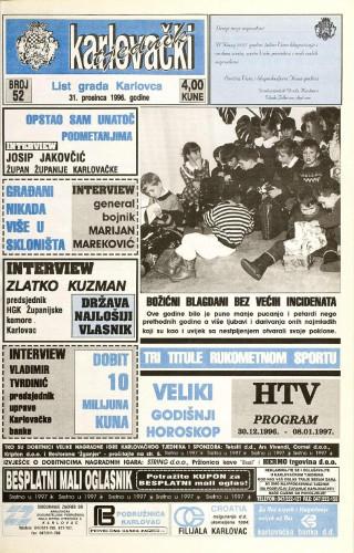 Karlovački tjednik: 1996 • 52