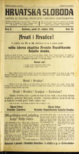 Hrvatska sloboda: 1923 • 08