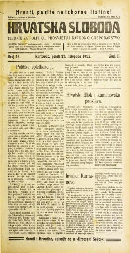Hrvatska sloboda: 1922 • 43