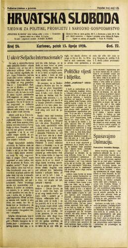 Hrvatska sloboda: 1924. • 24