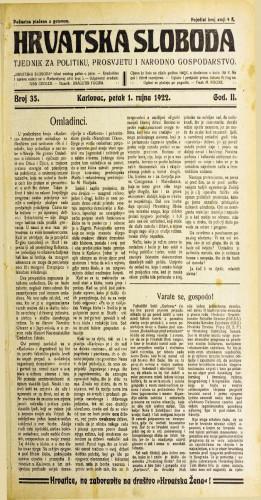 Hrvatska sloboda: 1922 • 35