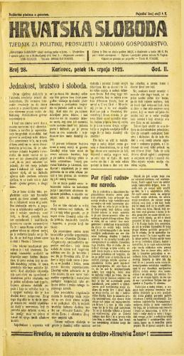 Hrvatska sloboda: 1922 • 28