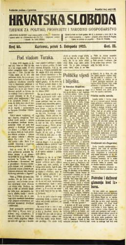Hrvatska sloboda: 1923 • 40