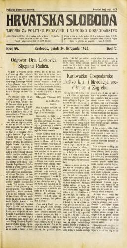 Hrvatska sloboda: 1925. • 44
