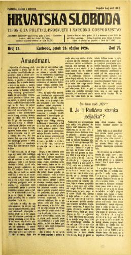 Hrvatska sloboda: 1926. • 13