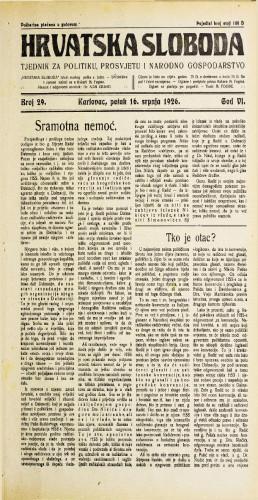Hrvatska sloboda: 1926. • 29