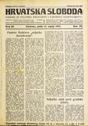 Hrvatska sloboda: 1927. • 28