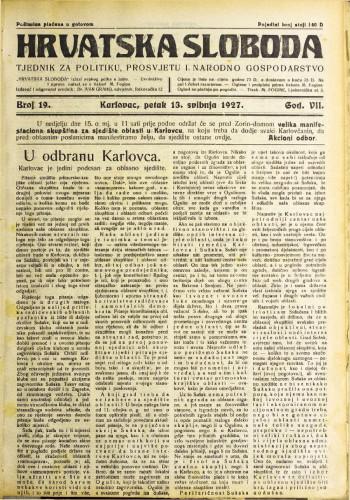 Hrvatska sloboda: 1927. • 19