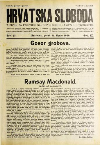 Hrvatska sloboda: 1929. • 25