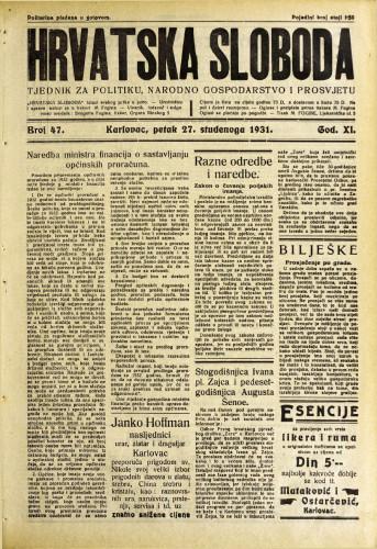 Hrvatska sloboda: 1931. • 47