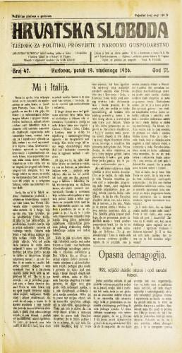 Hrvatska sloboda: 1926. • 47