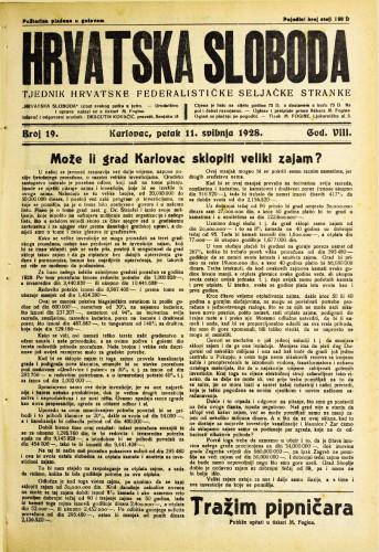 Hrvatska sloboda: 1928. • 19