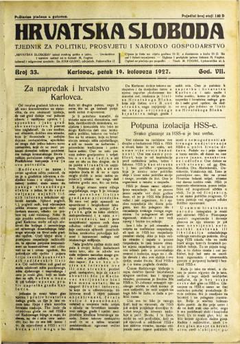Hrvatska sloboda: 1927. • 33
