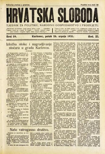 Hrvatska sloboda: 1931. • 29