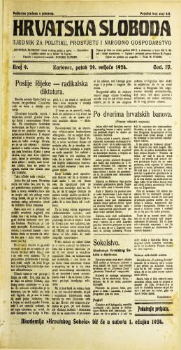 Hrvatska sloboda: 1924. • 9