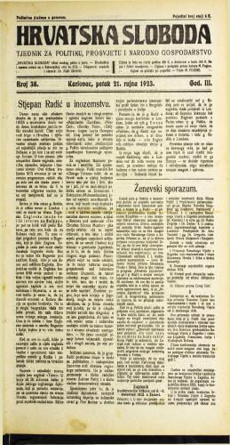 Hrvatska sloboda: 1923 • 38
