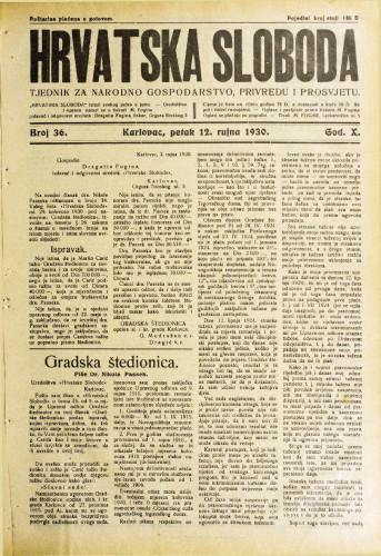 Hrvatska sloboda: 1930. • 36