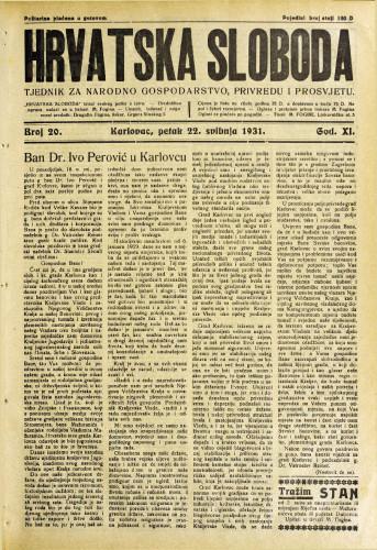 Hrvatska sloboda: 1931. • 20