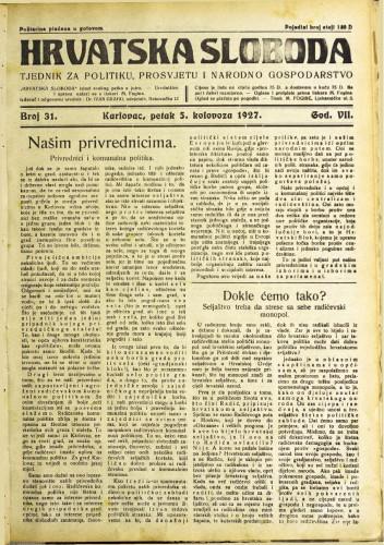 Hrvatska sloboda: 1927. • 31