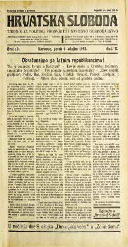 Hrvatska sloboda: 1925. • 10