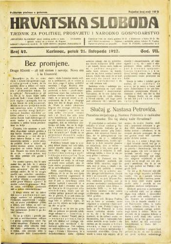 Hrvatska sloboda: 1927. • 42