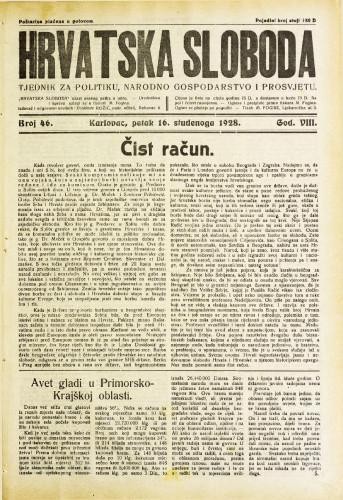 Hrvatska sloboda: 1928. • 46