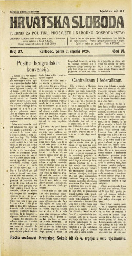 Hrvatska sloboda: 1926. • 27