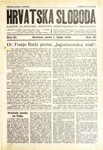 Hrvatska sloboda: 1929. • 23
