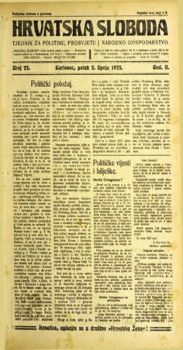 Hrvatska sloboda: 1922 • 22