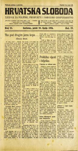 Hrvatska sloboda: 1924. • 25