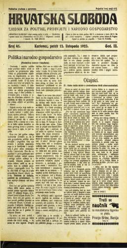 Hrvatska sloboda: 1923 • 41