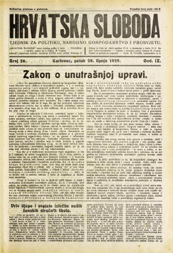 Hrvatska sloboda: 1929. • 26