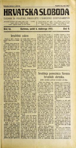 Hrvatska sloboda: 1925. • 45