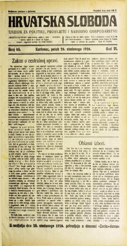 Hrvatska sloboda: 1926. • 48