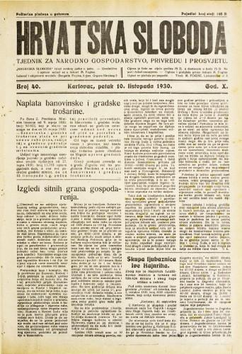 Hrvatska sloboda: 1930. • 40