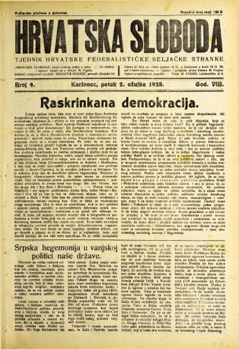 Hrvatska sloboda: 1928. • 9