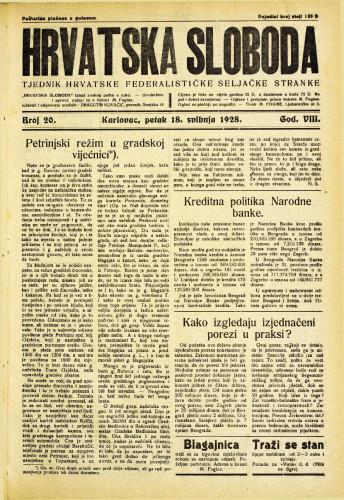 Hrvatska sloboda: 1928. • 20