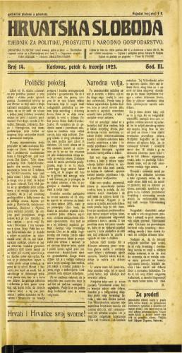 Hrvatska sloboda: 1923 • 14
